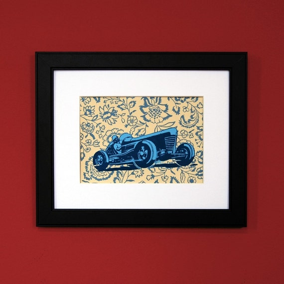 Indy 500 Race Car Print on Blue and Tan Flowered Vintage Wallpaper with FREE SHIPPING as seen on ABC's Modern Family