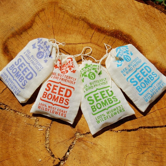 Any 4 Seed Bombs for Guerilla Gardening with Combined S/H Choose from Herb, Dog & Cat Friendly and Regional Varieties