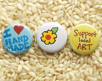 Handmade Love Buttons - Set of 3