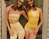 SALE 1920's vintage-style two piece bathing suit with bathing cap, canary and stripe Medium