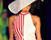 SALE: Half Off Red and White Striped Maxi Dress, small, One of a kind runway sample