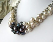 DIETRICH Bridal Luxe White And Peacock Pearl Necklace