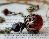 ALICE Dark Romance Ruby Red Czech Glass Antiqued Brass Boho Necklace