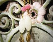 LORE Parisian Nostalgia Cream Opal And Fuchsia Quartz Vermeil Gold Earrings
