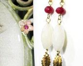 SALE - LAETITA Parisian Nostalgia Cream Opal And Fuchsia Quartz Vermeil Shabby Chic Glam Earrings