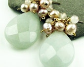 Della Aristocrat Pink Pearls And Ice Blue Chalcedony 14K GF Earrings