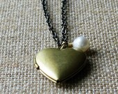 SALE - EMILY Heart Locket Antiqued Brass Boho Chic Necklace