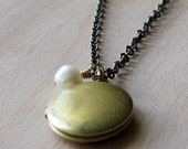 SALE - LYLIA Round Locket Antique Brass Boho Chic Necklace
