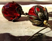 SALE - LYRIS Boho Chic Red Cherry Blossom Glass Antiqued Brass Earrings
