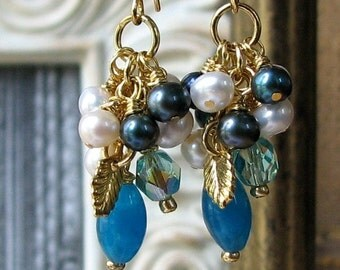 MIERELLE Regency Romance Blue Chalcedony Hollywood Glam Earrings