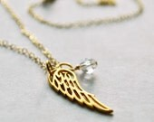 Wing Necklace - Gold with Swarovski Crystal