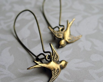Bird Earrings - Brass BIRD ON A WIRE Loop