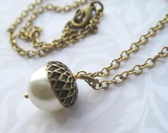 Acorn Necklace - Brass with Ivory Pearl