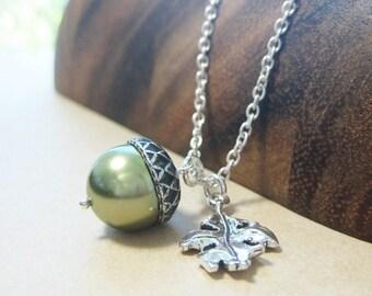 Acorn Necklace - Sterling Silver ACORN and OAK Leaf Green