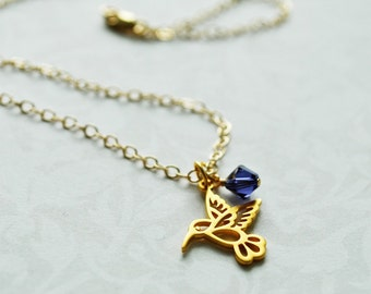 Hummingbird Necklace - Gold and Purple Crystal