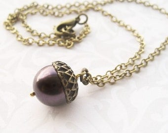 Acorn Necklace - Brass with Purple Pearl