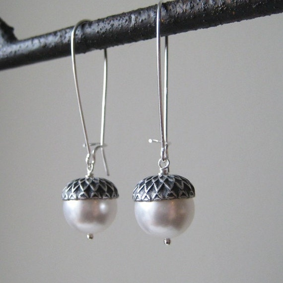 Acorn Earrings - Sterling Silver with White Pearl