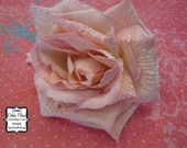 Velvet Rose- Whisper Pink - Millinery, Altered Couture, Hair Flowers, Silk