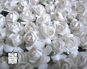 144 White Paper Flowers - mini - Wedding Invitations scrapbooking paper goods