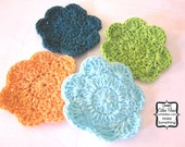 Crochet Flower Embellishments - set of four - Millinery, Altered Couture, Hair Flowers - peach, lime, turquoise, teal
