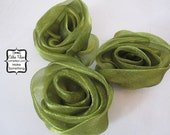 Olive Green Gathered Roses - 3 Fabric Flowers - Millinery, Altered Couture, Hair Flowers