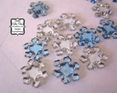 Snowflake Rhinestones - 100 pcs - Crystal Clear and Sky Blue