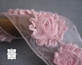 "Pink Ribbon - Tattered Flowers - Sheer - 3"" Wide - Ribbon Roses"