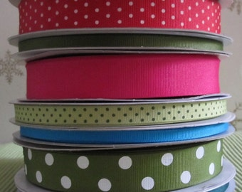 Christmas Ribbon Grosgrain - 14 Yards - Polka Dots - Retro Pink, Olive Green, Blue, Red