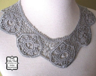 Lace Collar BIB for Altered Couture Art APPLIQUE - Silver Grey