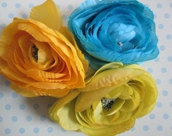 Acid Lime, Turquoise and Citron Yellow - 3 Delicate Silk Flowers - Millinery, Altered Couture, Hair Flowers