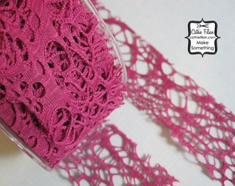 Grape Grunge Burnout Ribbon - 3 yards - 2 inch wide - Altered Couture Art - Costume Design - webbed hot pink purple