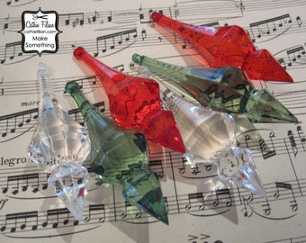 Chandelier Drops - 6 Gems Crystals for Ornament Making - clear, red, green - Christmas