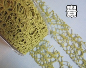 Lime Green Grunge Burnout Ribbon - 3 yards -2 inch wide - Altered Couture Art - Costume Design - webbed By the Yard