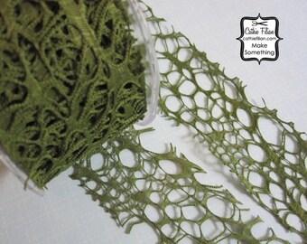 Olive Green Ribbon - Grunge Burnout Ribbon - 3 yards  - 2 inch wide - Altered Couture Art - Costume Design - webbed