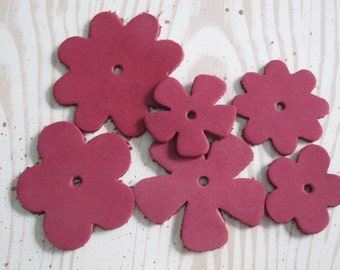Garnet Red - Leather Flowers - Set of 6