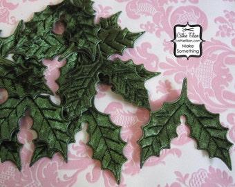 12 Velvet Holly Leaves - 1 dozen - Hunter Moss Green - Christmas