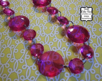 disk chandelier gem chain - Raspberry Pink - linked drops