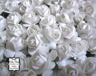 144 White Paper Flowers - mini - Wedding Invitations scrapbooking paper goods