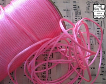 Hot Candy Pink satin cord - 10 yards - Altered Couture Art - Jewelry Making