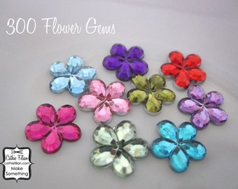300 flower rhinestones - Hot Pink, Pink, Red, Moss Green, Baby Blue, Turquoise, Lavender, Purple loose gems