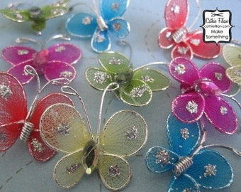10 Mini Butterflies - millinery, hair flowers, pin, embellishment, hot pink, yellow, coral, lime green, turquoise blue
