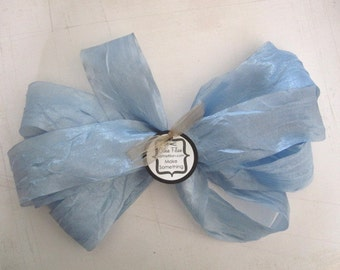 5 yards - DISTRESSED crepe ribbon - PASTEL BLUE - crinkle aged Altered Couture