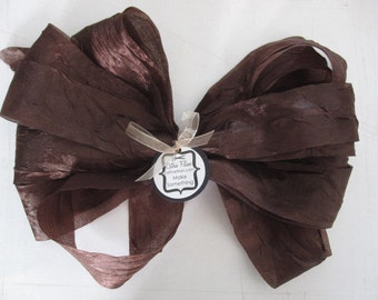 5 yards - DISTRESSED crepe ribbon - Chocolate Brown - crinkle aged Altered Couture