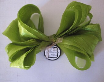 Lime Green DISTRESSED crepe ribbon - 5 yards - crinkle aged Altered Couture