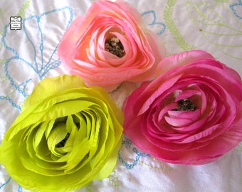 Baby Pink, Hot Pink and Lime Green - 3 Delicate Silk Flowers - Millinery, Altered Couture, Hair Flowers