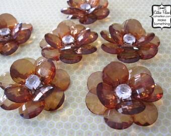 6 - Coffee Brown - beaded flower embellishment - Millinery - Scrapbooking - Jewelry Making
