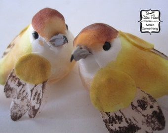 LOVE birds - Golden Yellow and Tea Stain - set of 2 mushroom birds