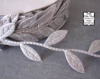 Leaf Ribbon - 3 yards - Silver Trim - Wedding Garland Scrapbooking Gift Wrapping