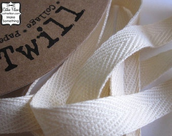 4 yards - Ivory Twill Ribbon - 100% Cotton - 1/2 inch wide - natural