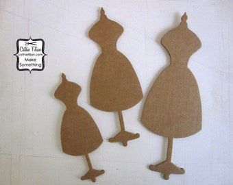 Sewing Dress Form Embellishment - brown cardboard - set of 3 paper mannequins